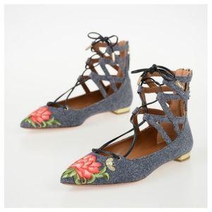AQUAZZURA Belgravia Denim Lotus Embroidered Flats